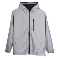 Uzun kollu yansıtıcı ceket Erkek Kadın Harajuku Ince Rüzgarlık ceketler Kapşonlu Hip-hop Streetwear gece parlak fermuar Mont Drop Shipping