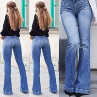 THEFOUND 2020 Fashion Damen Bootcut Jeans Stretch-Denim-Hosen Damen High Waist Bootleg Hosen