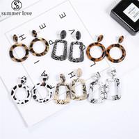 Multi Color PU Leather Dangle Earring por Mulheres Meninas Quadrangle Gancho Brinco Pendente na moda da cópia do leopardo jóias dom Atacado-Z