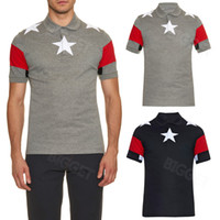 Stars Patch Striped Cuban Fit Polo Tops Man Style Cotton Emb...
