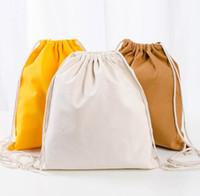 algodão esportes ao ar livre com cordão saco de Duffle de armazenamento de natação de acampamento bolsa mochila de lona praia viagem ombro sacos de fitness ciclismo yoga