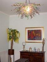 فيلا الفن تمت الإضافة اليدوية نمط مهب 220V زجاج الثريا الحديثة الفن زجاج مورانو LED المصدر AC 110V