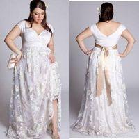 Плюс размер 2019 свадебные платья с плеча кружева аппликация свадебные платья Boho vestidos de novia Backless Country Beach свадебное платье на заказ