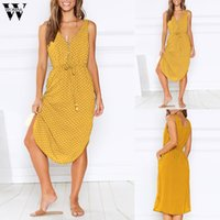 Womail summer dress sexy vestido de verão dot impressão mangas casuais boho party dress holiday elegante moda praia new 2019 m521