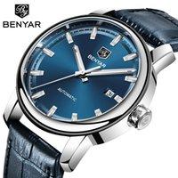 2019 Nueva informal de cuero de moda de los hombres de los relojes de primeras marcas BENYAR negocios automático de los hombres mecánicos reloj deportivo Masculino Relógio