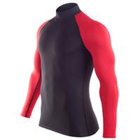 La aptitud de la llegada camisa de compresión rápida formación a lo largo de las mangas tshirt verano ropa de la aptitud color sólido Bodybuild Crossfit
