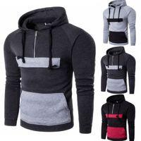 Männer Langarmshirt Warme Pullover Hoodie beiläufige Fronttaschen Farbe Blocking Sweatshirt Pullover Sports Trainingsanzügen