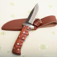 Pure Main faite survie Couteau droit à la main mille couche Poignée de bois de pomme à pommeau d'acier avec gaine en cuir