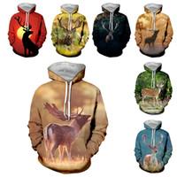 SONSPEE Мужчины Женщины Антилопа Мода Толстовка 3D печати животных Deer Толстовка с длинным рукавом Hip Hop Top O шеи Street пуловер C087-15