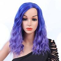 Blue Purple Wig European and American Temperament Face Short...