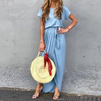 2019 zanzea frauen kurzarm lace up split hem dress sommer feste party dress lose beiläufige unregelmäßige rand maxi lange vestidos