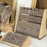 Gemelle di gioielli in legno di faggio Visualizza gioielli visualizzazioni Boutique Counter Exhipositor anello orecchino collana braccialetto abito da tavolo