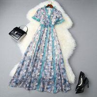 2020 Sommer-Kurzschluss-Hülsen-V-Ausschnitt, blauer Paisley-Druck-Chiffon- Panelled Mittler-Kalb-Kleid Elegante beiläufige Kleider LJ22T10993
