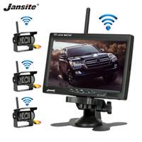 Jansite 무선 트럭 카메라 트럭 버스 RV 트레일러 굴삭기 자동차 모니터 반전 이미지 12V-24V 리어 뷰 카메라 7 인치