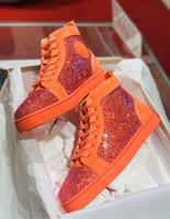 Оранжевый Suede Rhinestone вскользь Walking, Elegant High Top Strass кроссовки Red Bottom Мужчины S-качество 1,1 Basket Homme лучший подарок для Него