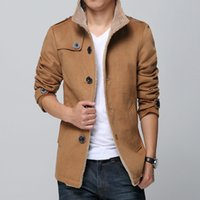 New Arrival Slim Plus Size Mens Winter Khaki Coat Windbreake...