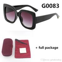 0083 큰 프레임 브랜드 선글라스 작은 꿀벌 패션 위크 삼색 안경 빨간색 녹색 안경 6 색 상자