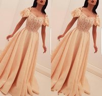 2019 Vestido de noche largo barato Árabe Dubai A Line Lace Holiday Women Wear Formal Party Prom Gown Custom Made Plus Size