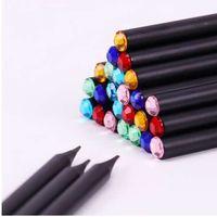 12 PCS Haste Preta HB Lápis Com Colorido Diamante Kawaii Escola Pintura Desenho Escrita Crianças Lápis