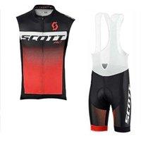 Scott Team Cycling sin mangas Jersey Chaleco Pantalones cortos BIB Sets Transpirable Quick Seco al aire libre Ropa deportiva Mens 60435