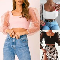 Mode féminine See-through Résille Sheer Mesh T-shirt Crop Top mignon Hauts solides Femme Summer Mesh