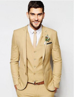 Fashionable Two Button Beige Groom Tuxedos Slim Fits Mens Pa...