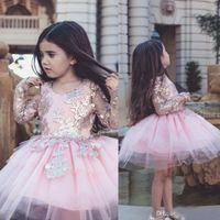 Маленькие детские цветочные девушки платья блестящие аппликации с длинными рукавами принцесса Pagess Pageant Pageant TUTU платье Tulle линия мин короткие платья