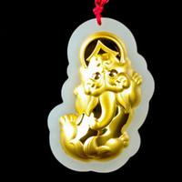 jade chinois beaux bijoux en or Pendentif de jade Hetian jade Pixiu pendentif hommes et les femmes couple chanceux Amulette Collier Zhuanyun