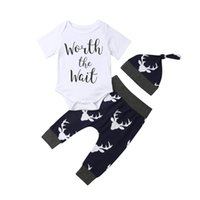 Bébé garçon vêtements 3 pcs nouveau-né bébé garçon fille chiffon blanc lettre tops barboteuse + pantalon de cerf leggings tenue enfants vêtements ensemble