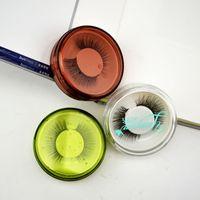 25mm 3D Vizon Kirpik Kutusu Şeffaf Göz kirpik Kutuları Plastik Kirpik Yuvarlak Durumda Boş kirpikler Kutusu Srorage Kutusu GGA2525