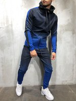 Nouveau Zipper Survêtement Hommes Ensemble Sportif 2 Pièces Survêtement Vêtements Casual Bodybuilding À Capuche Hoodies Veste Survêtement Costumes Mâle Pantalon