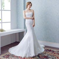 Mermaid Sweetheart Slim Wedding Dress 2019 White Fishtail Abiti da sposa Appliques di pizzo Abito da sposa Lace Up