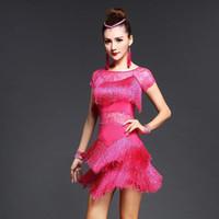 Costume sexy nappa femminile lustrini frange abito prestazioni Suit manica corta Disigner Abbigliamento Donna Latin Dance