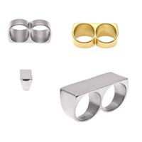 Silber und Gold No. 10 doppelte Finger-doppelte Ring-Sicherheit Knöchelstaubtuch Personality-Doppelt-Finger-Ring-Hip Hop-Gold überzogenen Edelstahl