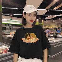 Kadınlar için moda tasarım T-Shirt Pembe melek desen Baskı t shirt kısa kollu üstleri artı boyutu kadın tees tişört WC70