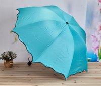 Изменять цвета зонтик Открытый зонтик ясный солнечный Дождливый Зонт Три Складные черное покрытие Виниловые Солнцезащитный Зонтики LXL997Q