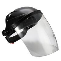 Preto Anti-choque Welding capacete protetor solda máscara transparente Lens Rosto Eye Proteja Escudo Anti-UV Anti-choque Máscara de Segurança