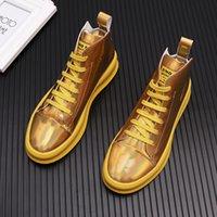 Nouvel arrivage d'or pour homme brillant voyantes Casual chaussures haut haute Flats Homme Designer robe de bal Mocassins Chaussures Moccasin hombre