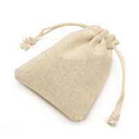 50Pcs Small Bag Natural Linen Pouch Drawstring Burlap Jute S...