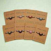 Haga un deseo colorido Piedra Natural pulsera tejida cuero ajustable pulseras de hilo Femme Moda de Navidad joyería