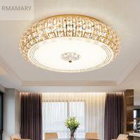 RMAMARY Basit modern kristal tavan lambası 3 renk LED yuvarlak oturma odası led ışık kristal lamba gümüş altın kristal tavan ışık