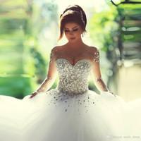 Кристаллы с бисером Арабские свадебные платья Принцесса платье Милая с длинными рукавами Чистый шеи Тюль зашнуровать шаровые платья свадебные платья SB005