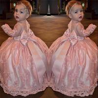Blush rose fleur Robes avec manches longues 2020 Bow Lovely Jewel Neck Lace Applique Princesse Communion Pageant Robes