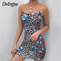 Darlingaga Backless kelebek leopar baskı yaz elbise mini kayış gündelik elbise sundress lace up kadınlar için seksi elbiseler vestido