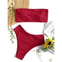 Bikini traje de baño de las mujeres Bandeau Collar de corte alto Bikini Set pierna alta traje de baño sin tirantes traje de baño verano Beach Wear Biquni