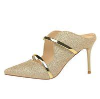 lusso sexy donne sandali e pantofole partito vestito scarpe bocca superficiale sottolineato moda tacchi alti parola cava in metallo con pantofole casual