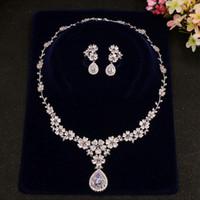 Zirkonia Blume Kristall Braut Halskette Wassertropfen Anhänger Ohrringe Schmuck Strass Hochzeit Zubehör Für Mädchen