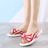 Summer Women Slippers Butterfly Striped Flat Ladies Cute Sli...