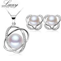 Freshwater Pearl necklace earrings jewelry sets, real 925 ste...