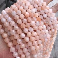 6mm 8mm Gran Facetado Rosa Natural Aventurina Granos de Piedra Para Hacer Joyas DIY Ronda Sección Suelta Rosa Granos de Piedra Strand 15 ''